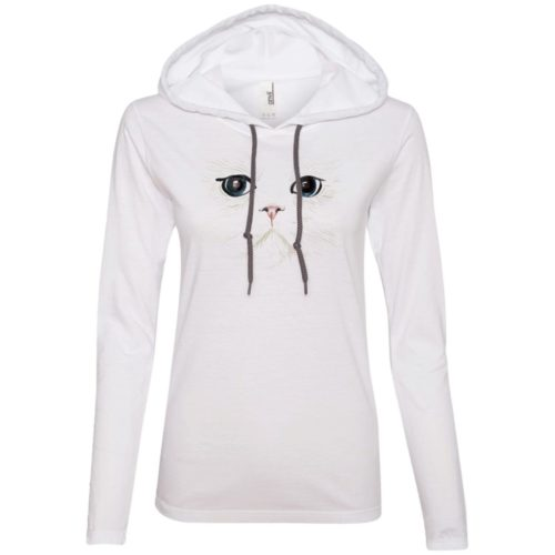 White Cat Fitted T-Shirt Hoodie