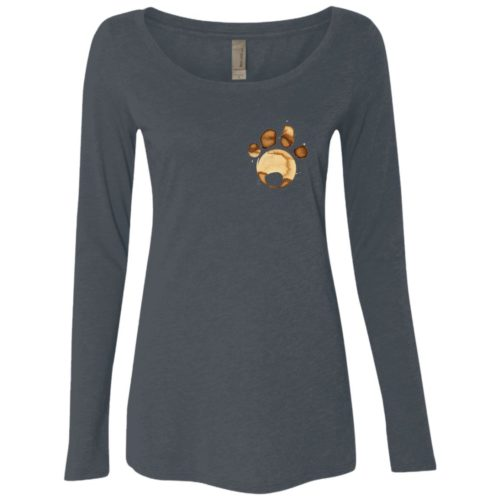 Coffee Paw Fitted Scoop Neck Long Sleeve