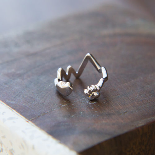 Heartbeat Paw Adjustable Ring