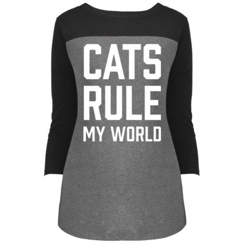Cats Rule My World Rally 3/4 Sleeve T-Shirt