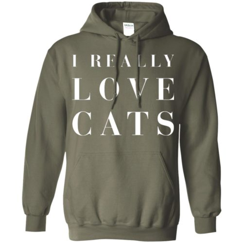I Really Love Cats Pullover Hoodie
