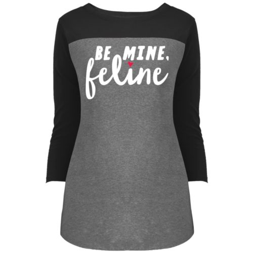 Be Mine Feline Colorblock 3/4 Sleeve