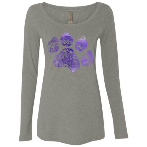 Mandala Paw Ladies' Scoop Neck Long Sleeve Shirt