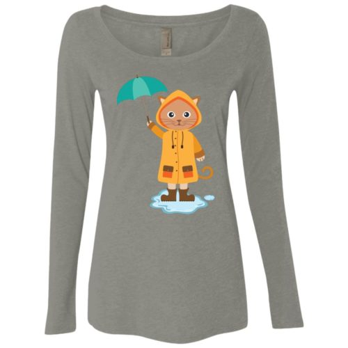 Rainy Kitten Ladies' Scoop Neck Long Sleeve Shirt