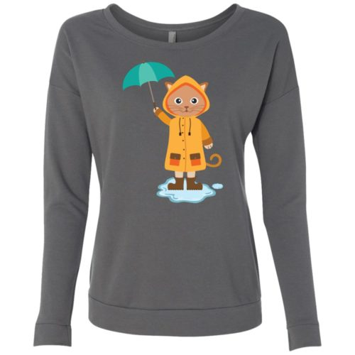 Rainy Kitten Scoop Neck Sweatshirt