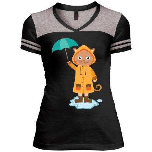 Rainy Kitten Varsity V-Neck T-Shirt