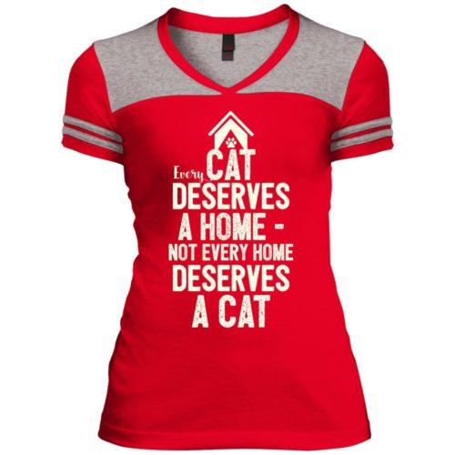 Every Cat Deserves Varsity V-Neck T-Shirt