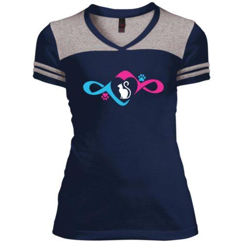 Infinity Love Paw Varsity V-Neck T-Shirt