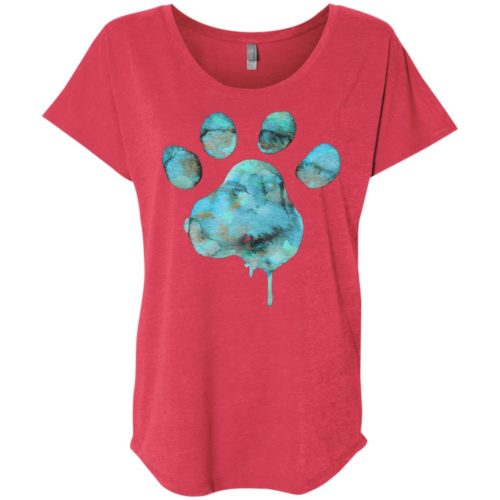 Watercolor Paw Slouchy Tee