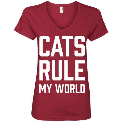Cats Rule My World V-Neck Tee