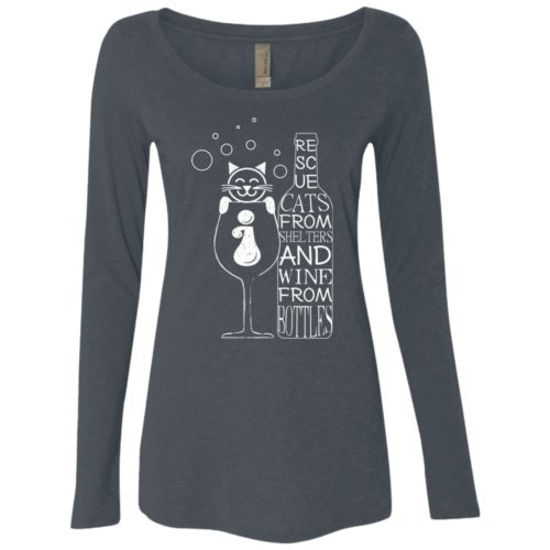 Cats And Wine Fitted Scoop Neck Long Sleeve