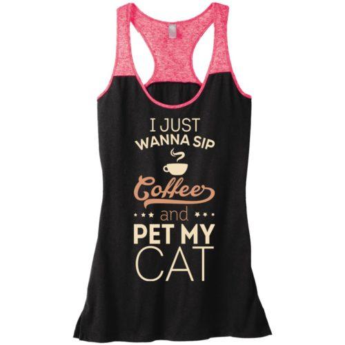 Sip Coffee & Pet My Cat Varsity Tank