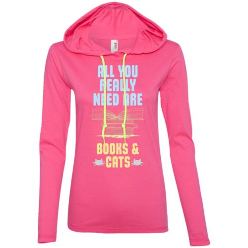 Books & Cats Fitted T-Shirt Hoodie
