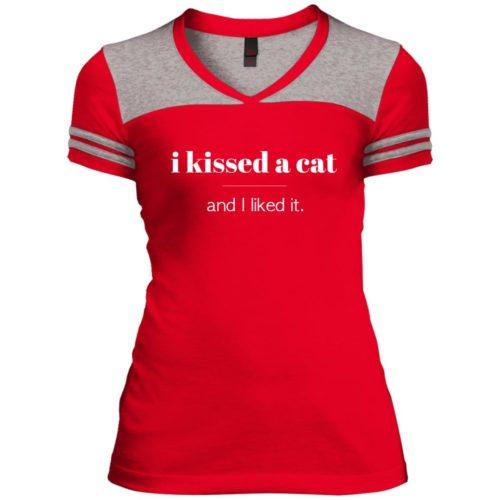 I Kissed A Cat Varsity V-Neck T-Shirt