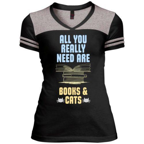 Books & Cats Varsity V-Neck T-Shirt