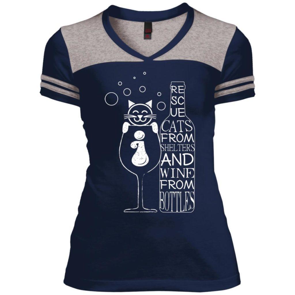 Cats And Wine Varsity V-Neck T-Shirt