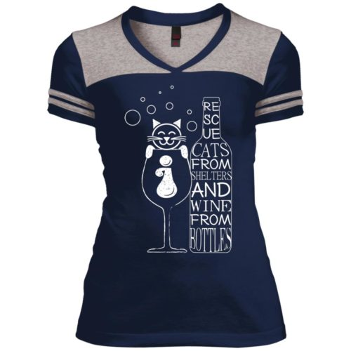 Cats And Wine Varsity V-Neck T-Shirt
