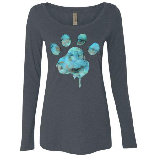 Watercolor Paw Ladies' Scoop Neck Long Sleeve Shirt