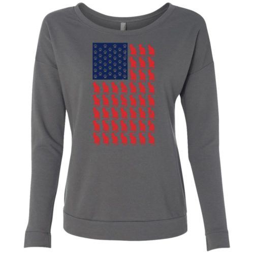 Red Cat Blue Paw Flag Scoop Neck Sweatshirt