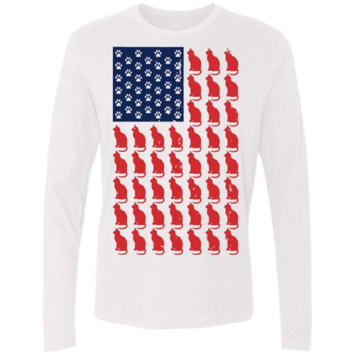Red Cat Blue Paw Premium Long Sleeve Tee