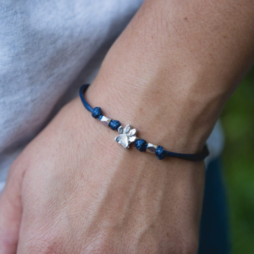 Second Chance Movement™ Navy Blue Wax Cord Silver Paw Charm Bracelet