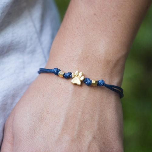 Second Chance Movement™ Navy Blue Wax Cord Gold Paw Charm Bracelet