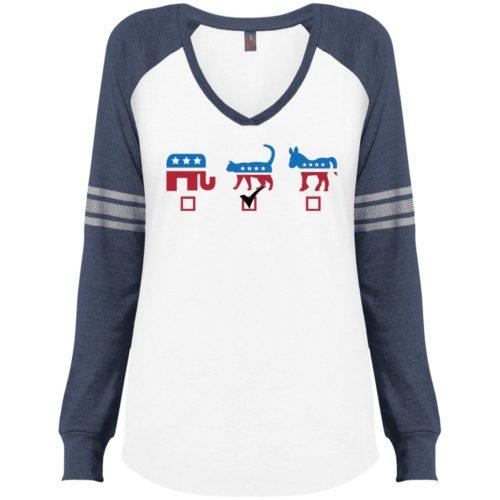 My Vote Varsity V-Neck Long Sleeve Shirt