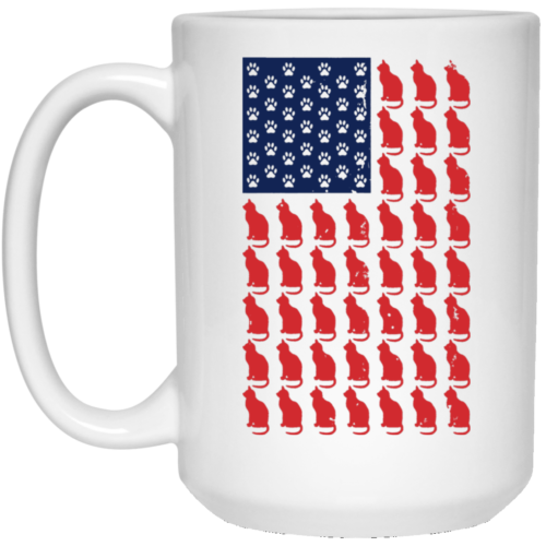 Red Cat Blue Paw Flag 15 oz. Mug