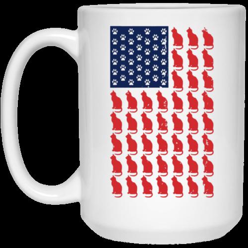 Red Cat Blue Paw Flag 15 oz. Mug