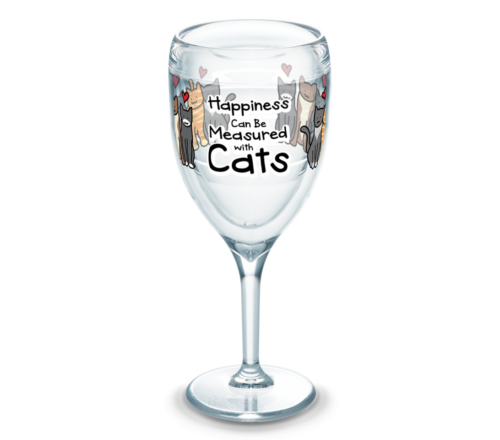 Happiness Can Be Measured With Cats Tervis Insulated 9oz BPA-Free Plastic Wine Glass With Stem