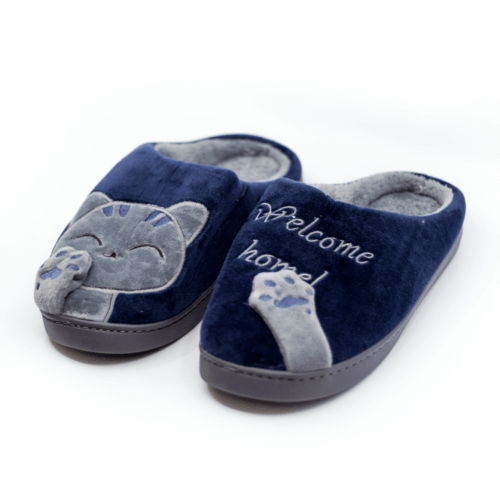 Special Offer! Welcome Home Navy Blue & Grey Kitty Cat Slippers
