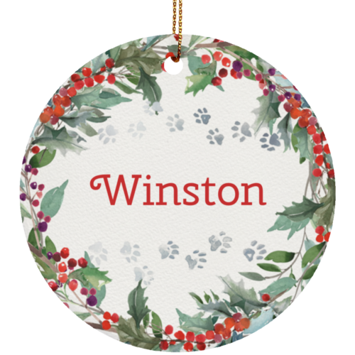 Holiday Watercolor Wreath Customizable Ceramic Circle Ornament