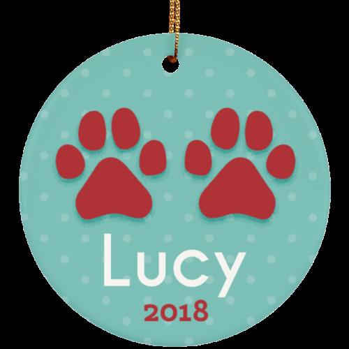 Paws 2018 Customizable Ceramic Circle Ornament