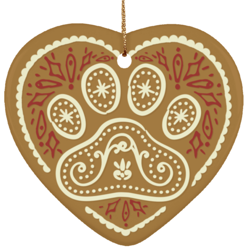 Gingerbread Paw Ceramic Heart Ornament