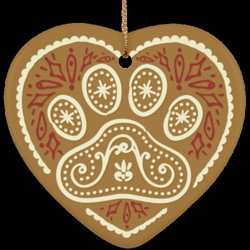 Gingerbread Paw Ceramic Heart Ornament