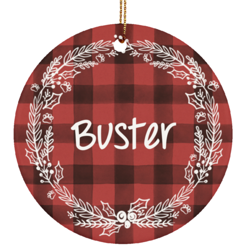 Holiday Flannel Customizable Ceramic Circle Ornament