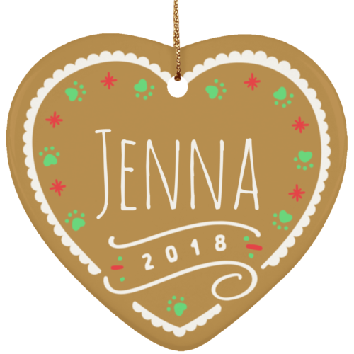 Gingerbread 2018 Customizable Ceramic Heart Ornament