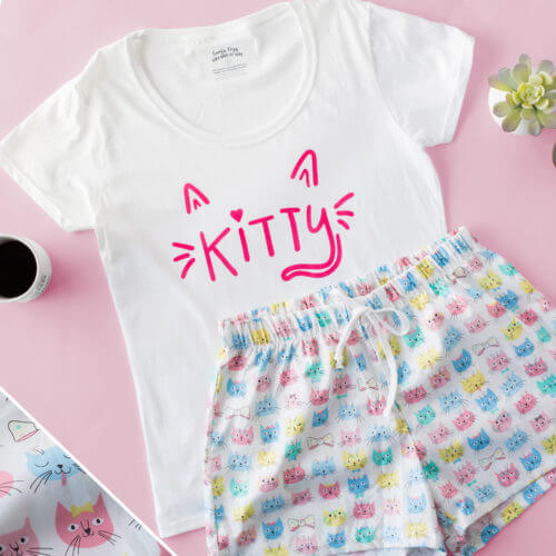 Happy Kitty Face PJ Shorts Set