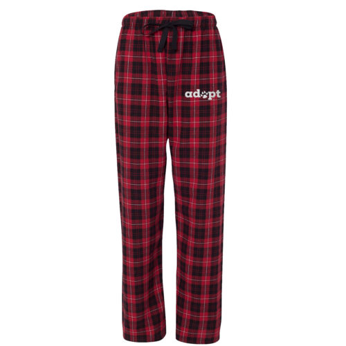 Adopt Paw Embroidered Flannel Pants