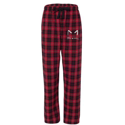 Cat Sketch Embroidered Flannel Pants