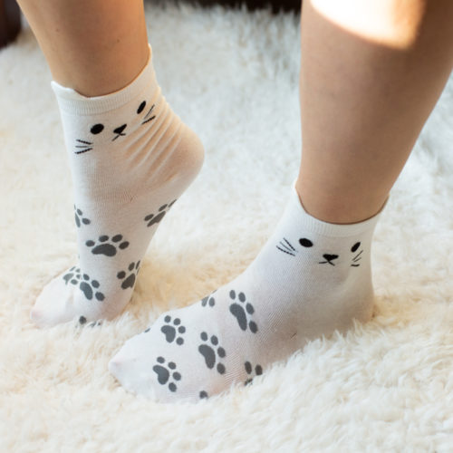 White Cat Face Paw Prints Socks