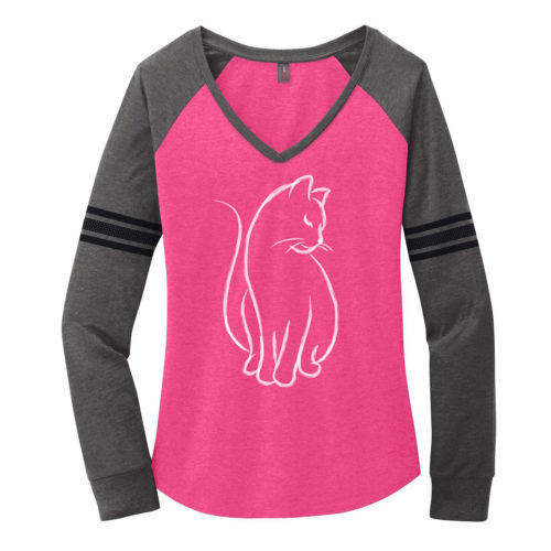 New Cat Sketch Varsity V-Neck Long Sleeve Shirt