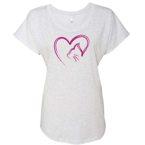 Cat Heart Sketch Slouchy Tee
