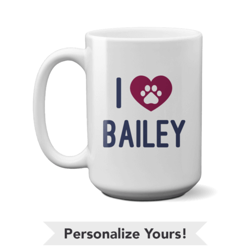 iHeart Plum Personalized 15 oz. Mug