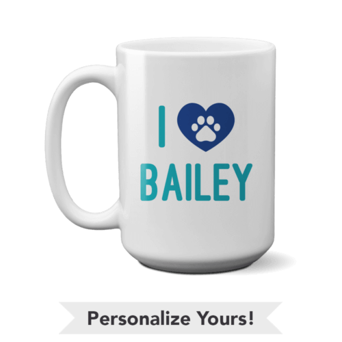 iHeart Teal Personalized 15 oz. Mug