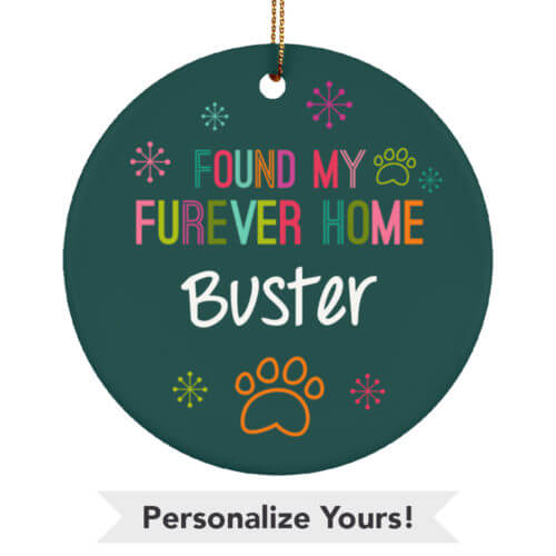 Multicolor Furever Home Customizable Ceramic Circle Ornament