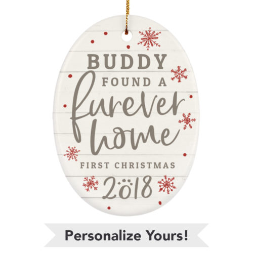 Furever Home First Christmas Customizable Ceramic Oval Ornament