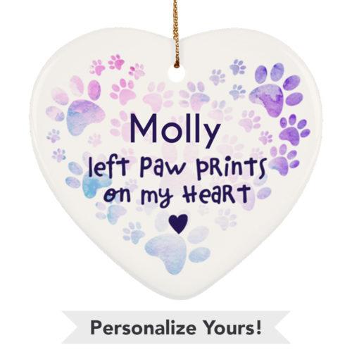 Heart Paw Watercolor Customizable Ceramic Heart Ornament