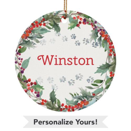 Holiday Watercolor Wreath Customizable Ceramic Circle Ornament