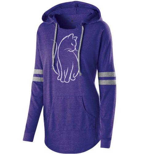 New Cat Sketch Varsity Slouchy Hoodie